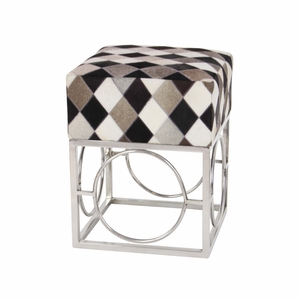 Artistically Designed Multicolor Leather Patch Stool - 95040 by Benzara
