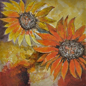 Yosemite Home Decor Artistically Painted Sunburst Flower I Painting