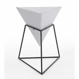 Ash White Triangle Accent Table - 85237 by Benzara