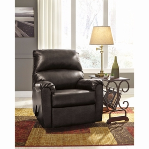 Buy ashley talco rocker recliner in gunmetal faux leather for Wild orchid furniture