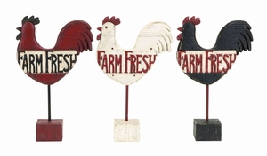 Assorted Kitchen Rooster Farm Fresh Sign In Polystone - 55631 by Benzara