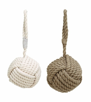 Assorted Rope Doorstop With Pearl White Texture Beige - Set Of 2 - 38722 by Benzara