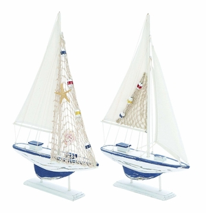 Wooden Sailing Boat With Assorted Carved Edges - Set Of 2 - 38728 by Benzara