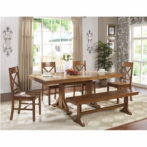 Attractive 6 Piece Millwright Antique Brown Wood Dining Set by Walker Edison
