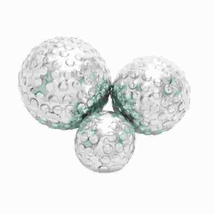 Set Of 3Decor Ball In Silver Finish - 26985 by Benzara