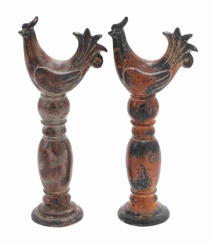 Attractive and Unique Ceramic Rooster in Orange and Black  - 64895 by Benzara