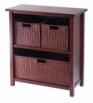 Attractive Antique Milan Wooden 4pc Storage Shelf by Winsome Woods