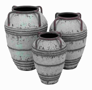 Set Of 3 Metal Vase With Exemplified Finesse - 20221 by Benzara