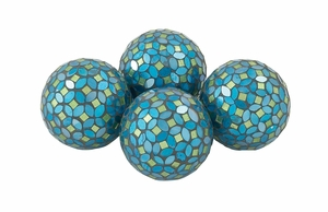 Attractive Pvc Glass Turquoise Mosaic Orb Set Of 4 by Benzara