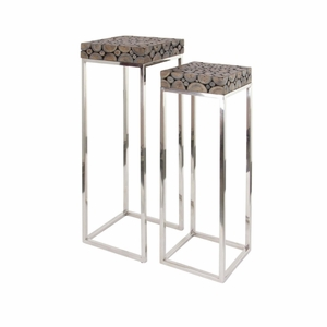 Attractive Stainless Steel Wood Pedestal, Set Of 2 - 37816 by Benzara