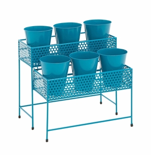 Attractive Styled Metal 2 Tier Plant Stand Blue - 28943 by Benzara