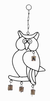Attractive Wall Hanger Metal Owl Wind Chime With Artistic Design - 26729 by Benzara