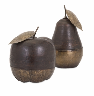 Attractive Wood and Brass Apple and Pear - Set of 2