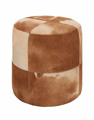Attractive Wood Leather Brown Round Ottoman - 95921 by Benzara