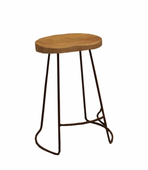 The Urban Port brand attractive Wooden Barstool with Iron Legs (Short).