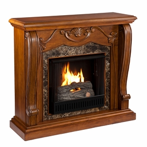 Attractive Wooden Cardona Gel Fuel Fireplace by Southern Enterprises