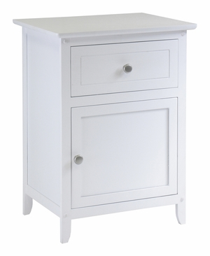 Winsome Woods Carved Night White Stand Accent Table with Drawer