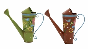 Attractively Designed 2 Assorted Metal Watering Can - 58539 by Benzara