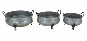 Attractively Styled Metal Footed Planters, Set Of 3 - 49197 by Benzara