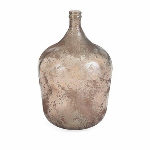 Augustine Recycled Glass Bottle - Brown- Benzara