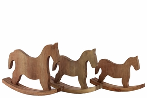 Austria's Classy Wooden Rocking Horse Set of Three