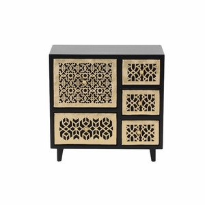 Ava Wooden Jewelry Chest, Golden And Brown - 82184 by Benzara