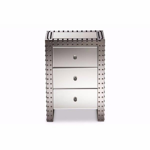 Azura Modern and  Hollywood Regency Glamour Style Nightstand Bedside Table