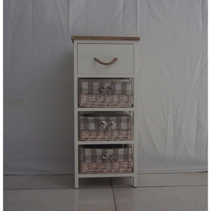 Urban Port  Backed Brown and Chic White Wood Cabinet