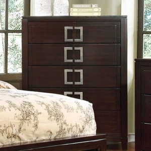 Balfour Transitional Style Chest, Brown Cherry Finish