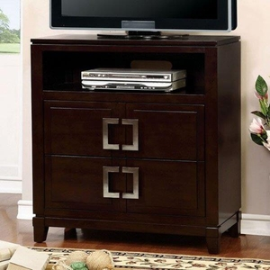 Balfour Transitional Style Media Chest, Brown Cherry Finish
