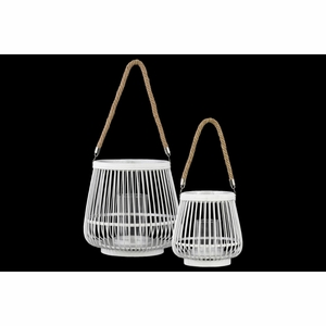 Bamboo Round Lantern with Rope Hangers Set of Two White - Benzara