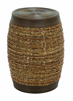 Bamboo Weave Stool In Unique Barrel Shape - 56084 by Benzara