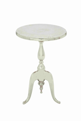 Aluminum Accent Table With Hammered Table Top In A Circular Shaped Design - 27466 by Benzara