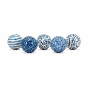 Barrett Spheres - Assortment of 5 - Blue - Benzara