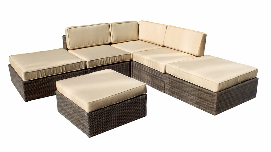 Buy Barton 6 Piece All Weather Grey Wicker Patio Sectional