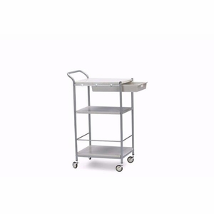Baxton Studio Bisanti Chrome Steel Trolley Cart with drawer