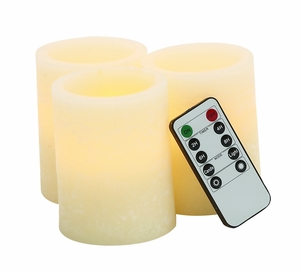 Beautiful and Durable Led Flameless Candle Remote Set/3 by  Import by Benzara