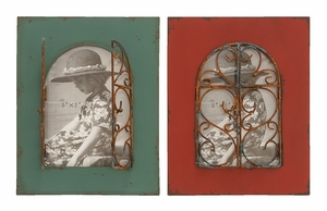 Beautiful Balcony Window Photo Frame In Aged Wood And Bronze - 55986 by Benzara