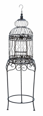 Victorian Style Bird Cage With Wrought Iron - 55122 by Benzara