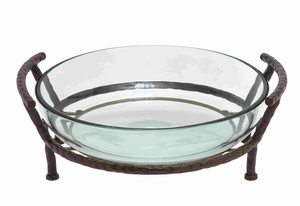 Glass bowl with metal stand - 68540 by Benzara