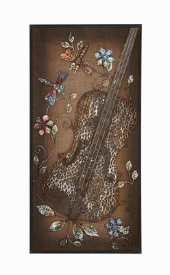 Beautiful Metal Cello Themed Wooden Burlap Wall Panel Decor - 54621 by Benzara