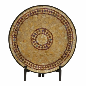 Beautiful Metal Mosaic Platter With Stand - 24189 by Benzara