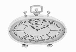 27860 Nickel Plated Table Clock With Roman Numerals - 27860 by Benzara