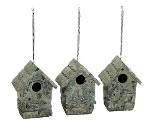 Poly Stone Birdhouse In Elegant White Finish - Set Of 3 - 57098 by Benzara