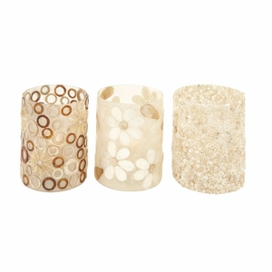 Beautiful Ps Shell Glass Votive 3 Assorted - 52232 by Benzara