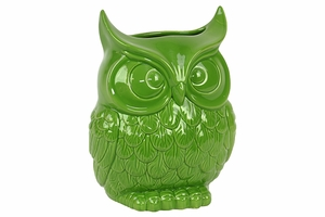 Beautiful & Spectacular Owl Design Ceramic Vase in Green Small