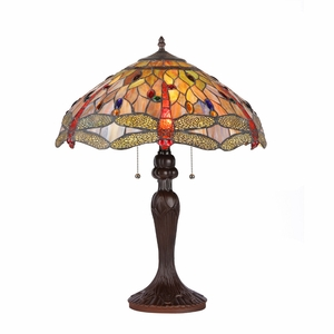 "ANISOPTERA PURITY Tiffany-style 3 Light Dragonfly Table Lamp 18"" Shade"
