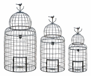 Victorian Style Bird Cage With `Perching Bird - 55123 by Benzara
