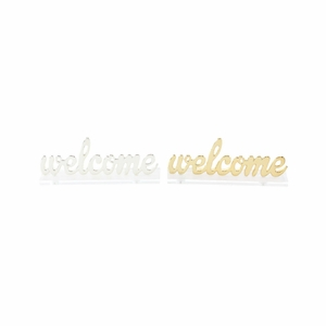 Beautiful Welcome Sign In Silver And Gold, 2 Assortment - 98431 by Benzara