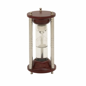 Beautiful Wood Aluminum Glass Floating Sand Timer - 24533 by Benzara